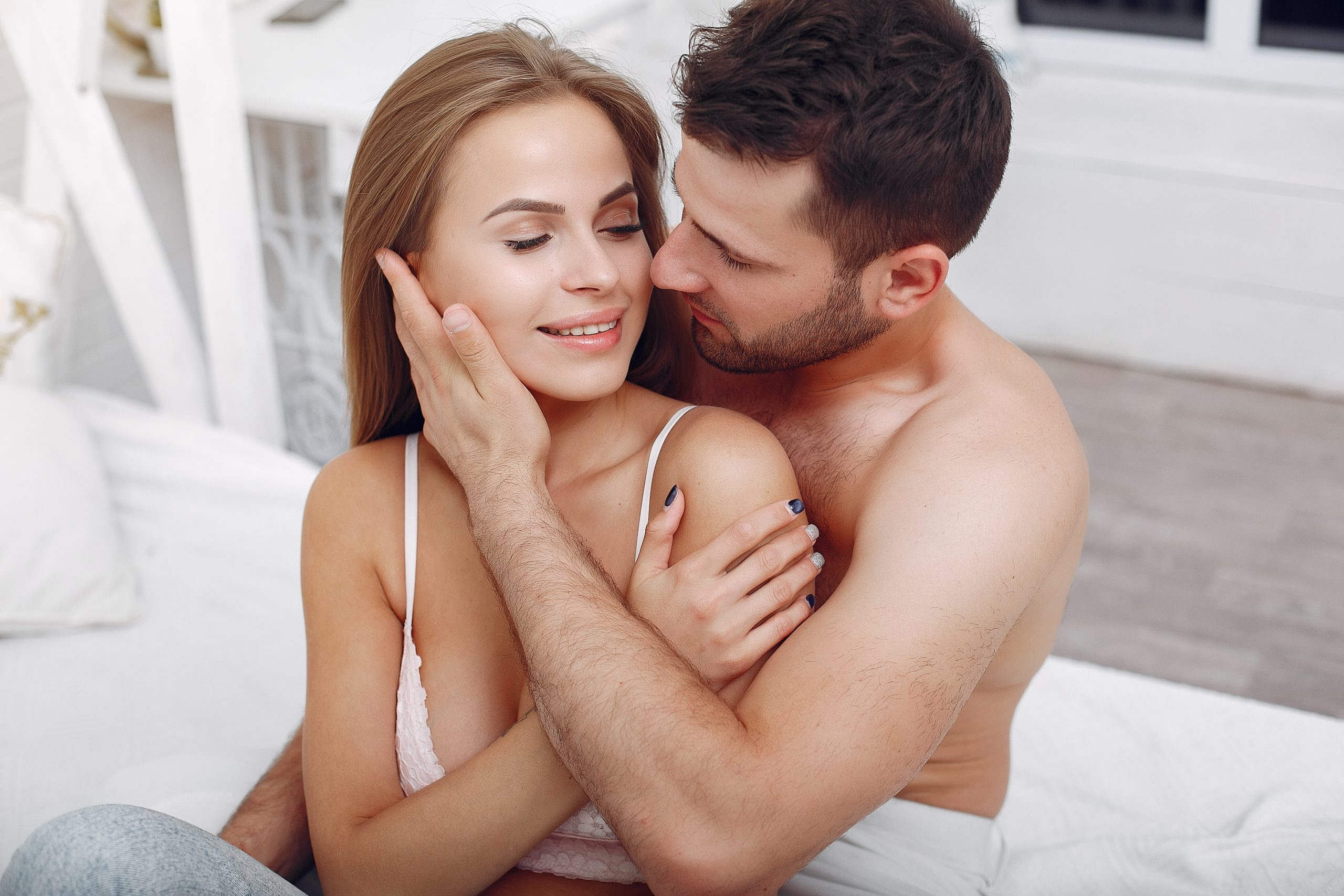 Couple lying in a bed