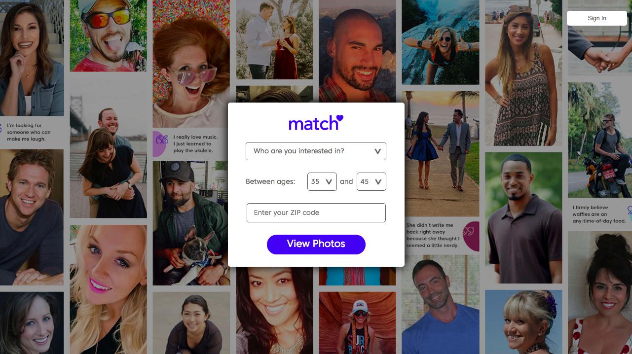 página principal Match.com