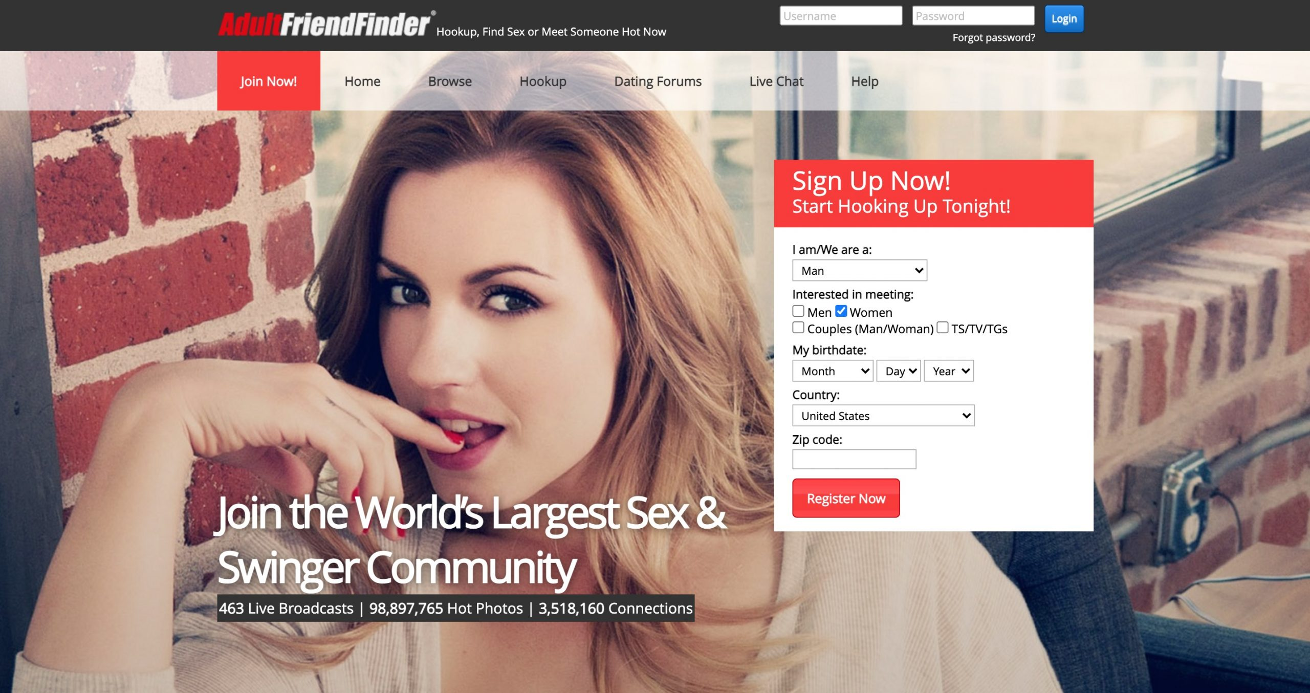 Pagina principale di AdultFriendFinder