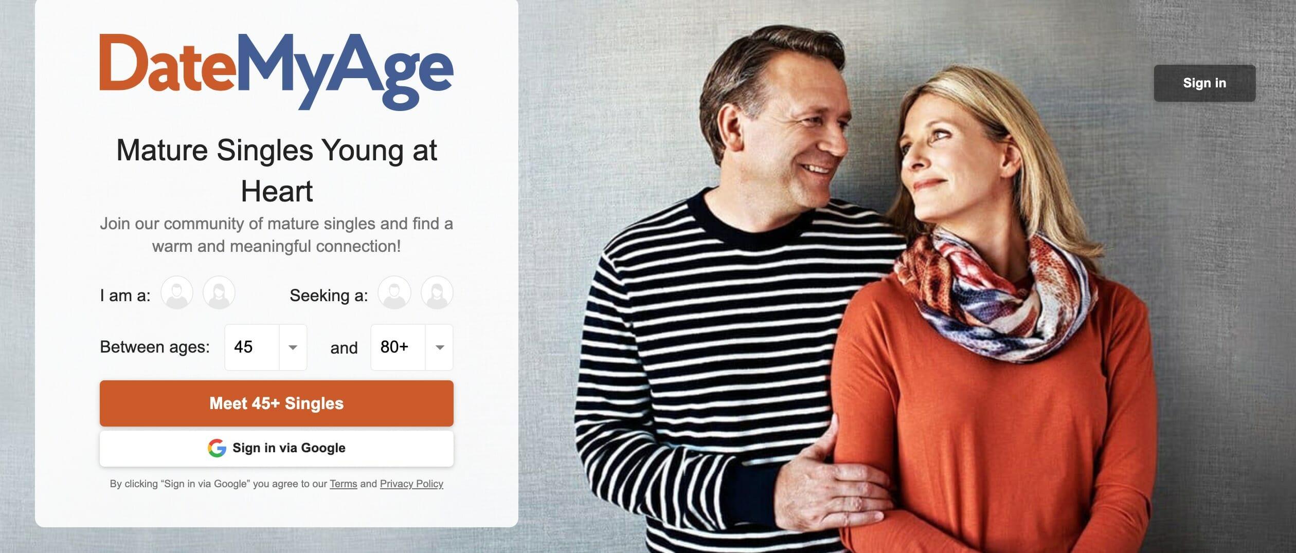 DateMyAge main page