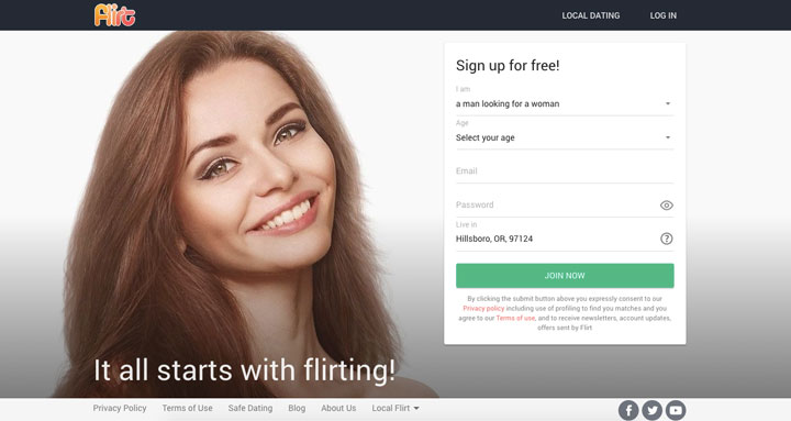 pagina principale Flirt.com