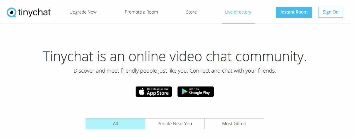 pagina principale TinyChat