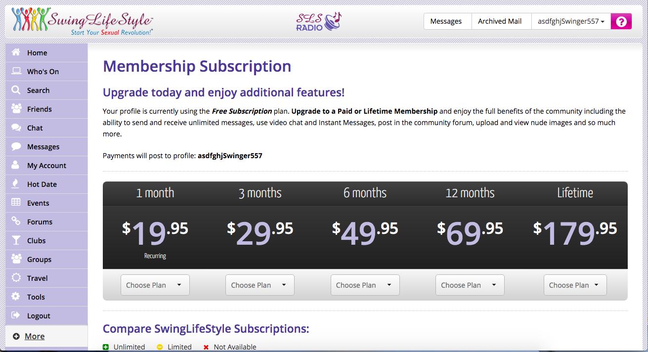 suscripción de membresía SwingLifestyle