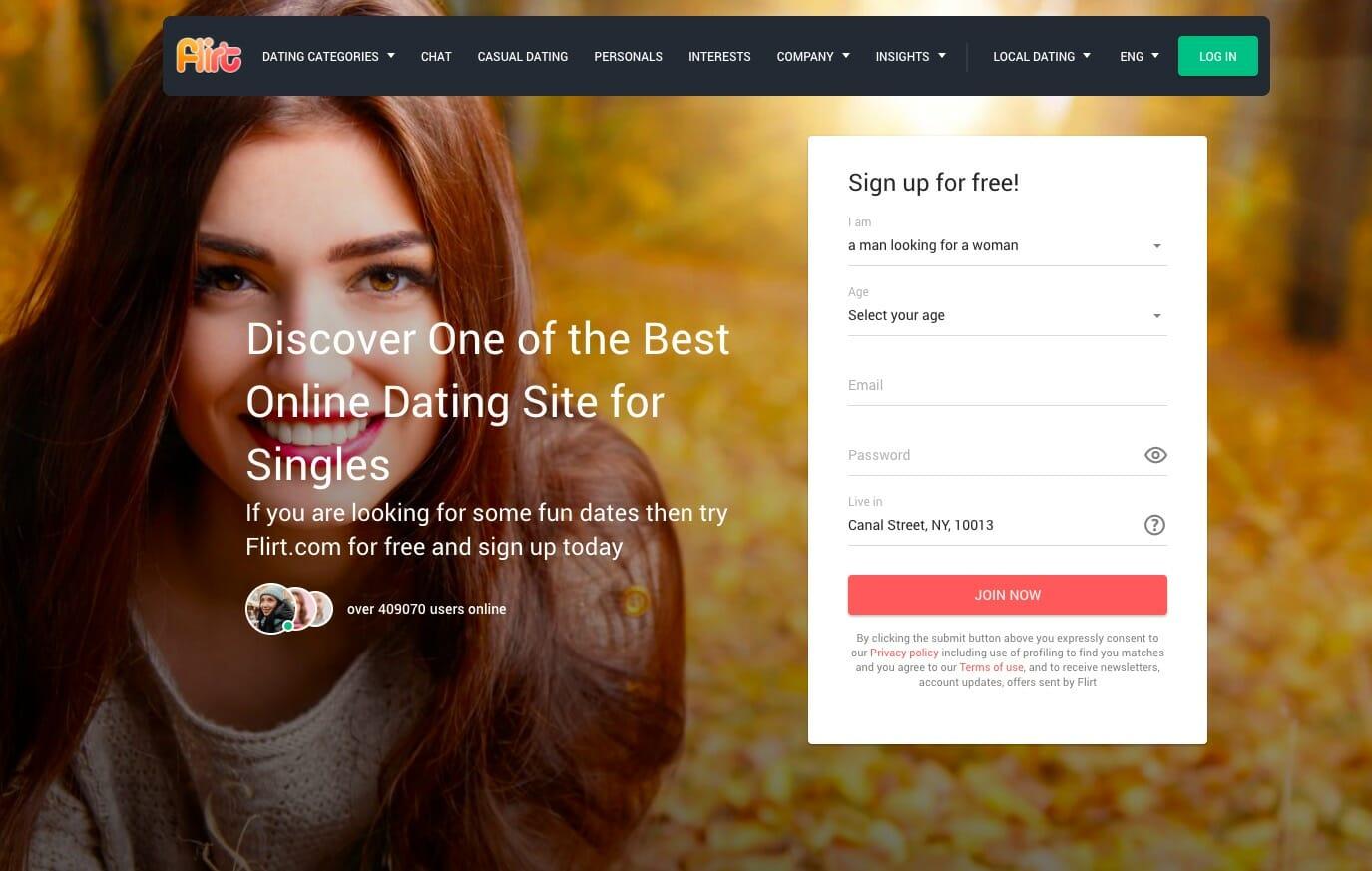 Pagina principale di Flirt.com
